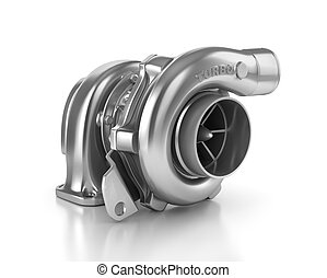 Steel turbocharger isolated on white background High...