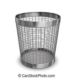 Steel Wastebasket - Illustration of steel wastebasket. White...