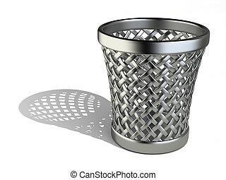 Steel wastepaper basket empty - Metallic wastepaper basket...