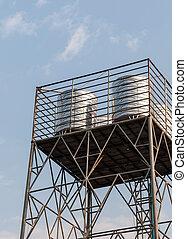 steel water tank on the metal tower