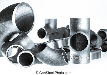 Steel welding fittings on group. Flanges, elbow, tees and...