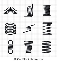 Steel wire flexible spiral coils spring on notebook page....
