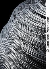 Steel Wire - Roll of steel wire in closeup.