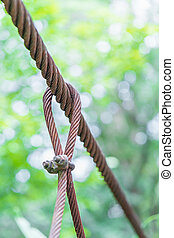 Steel wire rope lifeline on the bridge