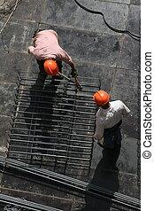 steel workers - Prepearing the reinforcing steels