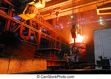 steel works, crane with stove busket