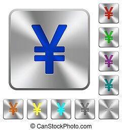 Steel yen sign buttons