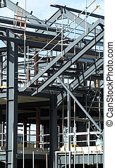 Steelwork - Steel framework of new building on construction...