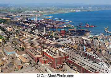 Steelworks - Aerial view of Piombino steelworks in Tuscany