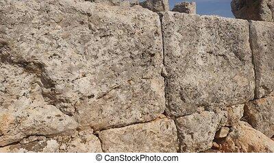 steen, achtergrond., een, oud, steentextuur, muur, in, de, oud, griekse , stad, lyrboton