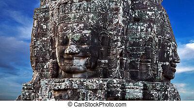 steen, bayon, boeddhist, gezicht, thom, tempel, angkor