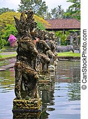 steen, beeldhouwwerken, bali, tirtagangga, palace van het water, roeien