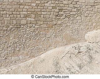 steen belemmert, zeer, muur, zand, oud