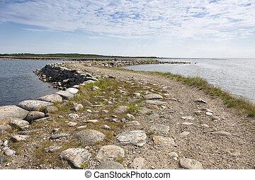 steen, bolshaya, dam, muksalma, door, eiland, rusland, straat, solovki