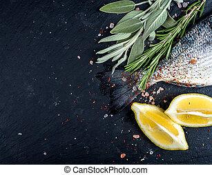 steen, citroen, keukenkruiden, kruiden, visje, of, rauwe, ...