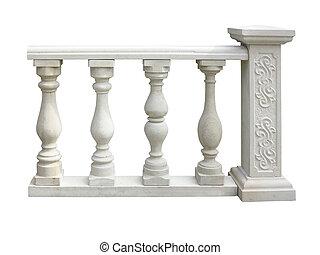 steen, classieke, zuil, op, vrijstaand, witte , balustrade