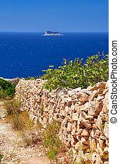 steen, eiland, malta, zuiden, fense, bank