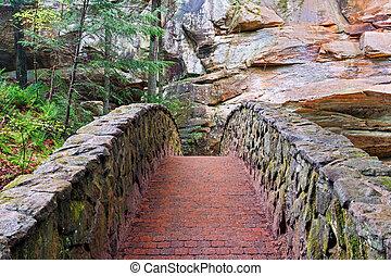steen, en, baksteen, voetbrug