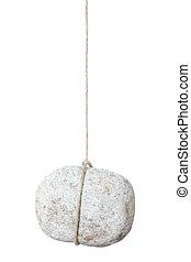 steen, hangend, touwtje, rots
