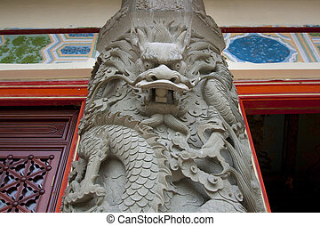steen, klooster, zuil, c, lin, hong, draak, versiering,...