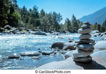 steen, kracht, concept., decoration., goed, stabiliteit, wezen, harmonie, hoop, witte