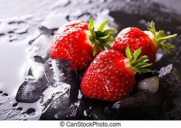 steen, lei, drie, ijs, aardbeien, fris, rood