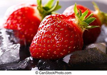 steen, lei, drie, ijs, aardbeien, fris
