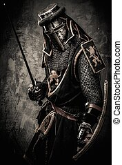steen, middeleeuws, muur, ridder, tegen, zwaard