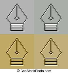 steen, nib, symbool, pen, vector, gekerfde