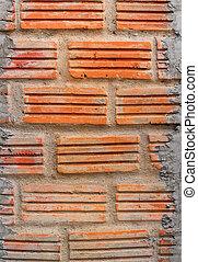 steen, oud, muur, textuur, rode baksteen, blok