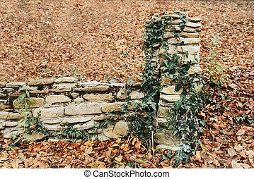steen, oud, omheining