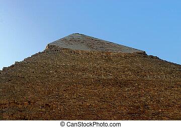 steen, piramide, blokjes, giza., cairo., egypt., khafre