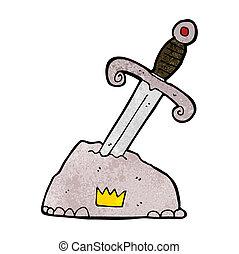 steen, spotprent, zwaard