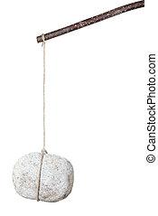 steen, touwtje, hangend