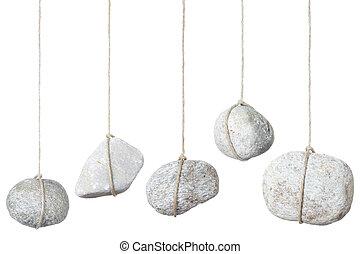 steen, witte , touwtje, hangend