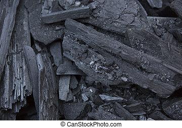 steenkool, black , texture., houtskool, achtergrond.