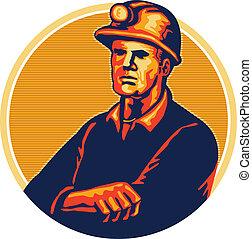 steenkool, ineengevouwen , mijnwerker, retro, armen