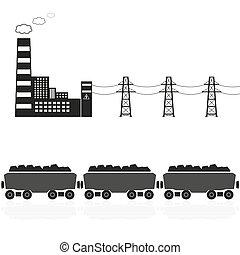 steenkool, krachtinstallatie, en, trein, met, steenkool,...