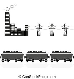 steenkool, plant, trein, eps10, macht