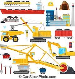 steenkool te ontginnen, vector, industrieele uitrustingsstuk, of, mechanisme, om te, mijn, brandstof, steenkool, stof, illustratie, set, van, zware, graafwerktuig, of, vrachtwagen, voor, fossiel, extractie, of, vervoer, vrijstaand, op wit, achtergrond
