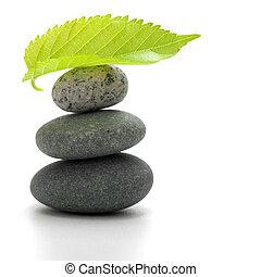 steentjes, blad, op, vrijstaand, stapel, achtergrond, witte