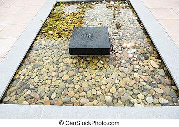 steentjes, fontein gras, zen, relaxen