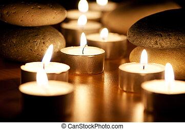 steentjes, kaarsjes, sessie, burning, aromatherapy