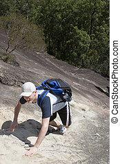 A steep climb uphill