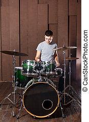 Steep drummer on background