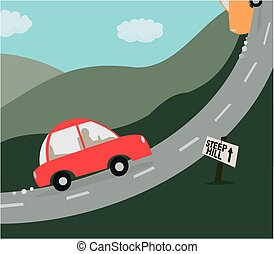 Cartoon image of a car about to take on a very steep hill.
