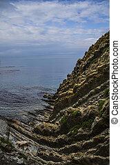 Steep Kiseleva cliff at the Black Sea coast