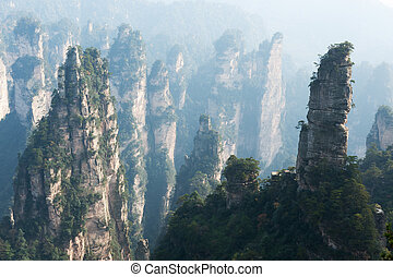 Steep mountain in Zhangjiajie National Forest Park located ...