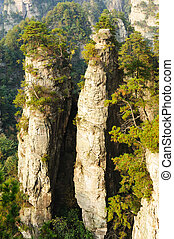 Steep mountain in Zhangjiajie National Forest Park located...