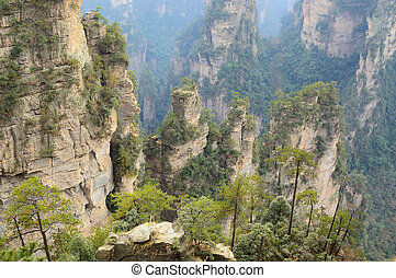 Steep mountain in Zhangjiajie National Forest Park located in Hunan Province, China